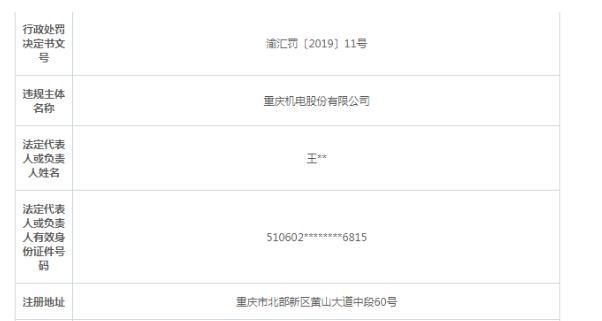 擅自对外借款 重庆机电被外汇局警告并处75万罚款